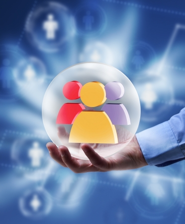 uphold: The power of social networking media concept - radiating icon in human hand Stock Photo