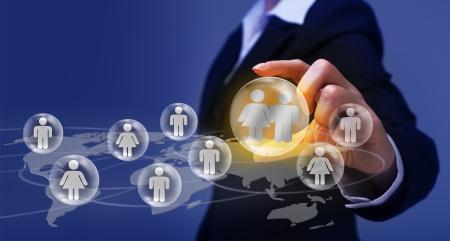 Social networking concept - het maken van en het vinden van vrienden Stockfoto