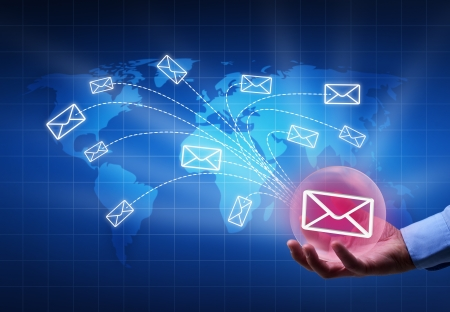 disseminate: Distributing information in a digital world concept - bubble radiating mail envelopes