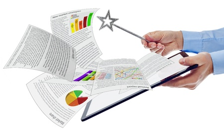 Productivity business concept with tablet computer and magic wand - documents with lorem ipsum text