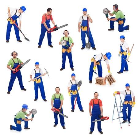 grinder: Los trabajadores de la industria de la construcci�n - con diversas herramientas, aislados