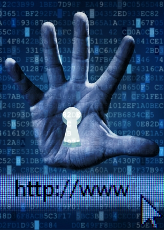 Internet security concept with keyhole in human hand against digital background photo