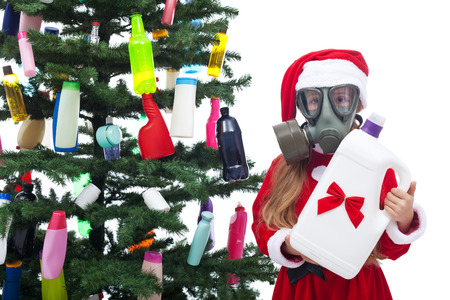 animal masks: Plastic waste christmas - environmental concept with colorful bottles on the tree