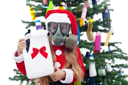 recycle tree: Plastic Christmas - pollution, consumerism and environment concept