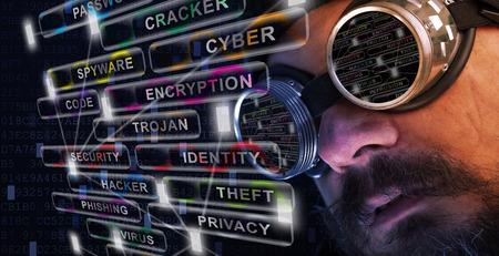 Shag 수염과 콧수염 남자 고글 연구 사이버 보안 관련 문제