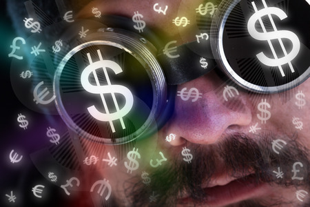 eye shade: Man looking at flying currency icons wearing dark goggles - financial concept Stock Photo