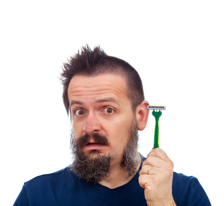 perplex: Man surprised by his safety razor efficiency - with stripe of facial hair missing