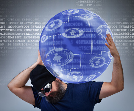 carying: Information technology worker carying the weight of the social networking world