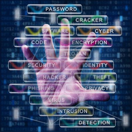 Technologie und ihre Herausforderungen Konzept mit der menschlichen Hand und digitale Datensymbole Standard-Bild - 36628667