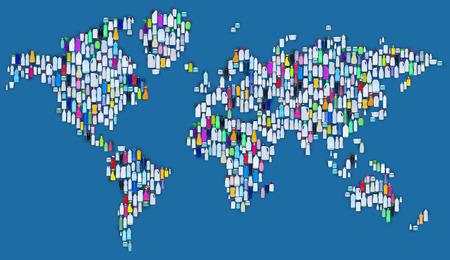 kunststoff: World of Kunststoff - Karte aus Plastikflaschen, �kologie und Umwelt-Konzept Lizenzfreie Bilder