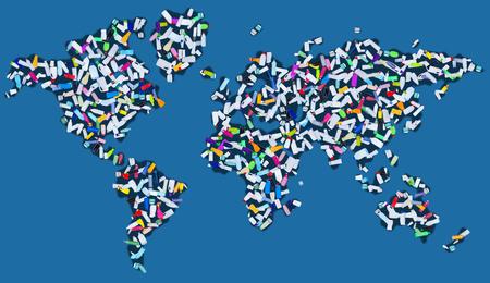 industria quimica: Contaminando el mundo - continentes cubierto de botellas de plástico dispersos, la ecología y el medio ambiente concepto Foto de archivo