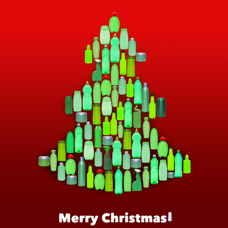 plastic christmas tree: Green plastic bottles forming a christmas tree - environment concept