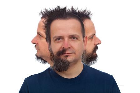 visage homme: L'homme avec trois visages regardant dans des directions différentes Banque d'images