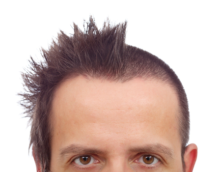 upper half: Male upper half face with funny haircut and copyspace on large forehead - isolated