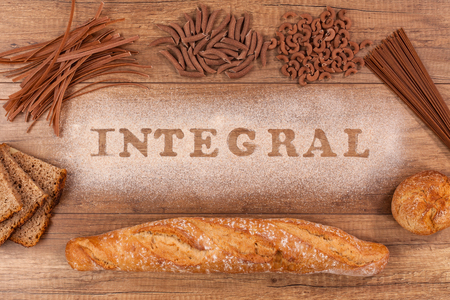 Wholemeal bakery and pasta varieties - with the word integral written in whole grain flour
