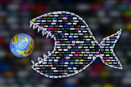 Les bouteilles en plastique pêchent sur le point d'avaler la terre - concept de danger de pollution