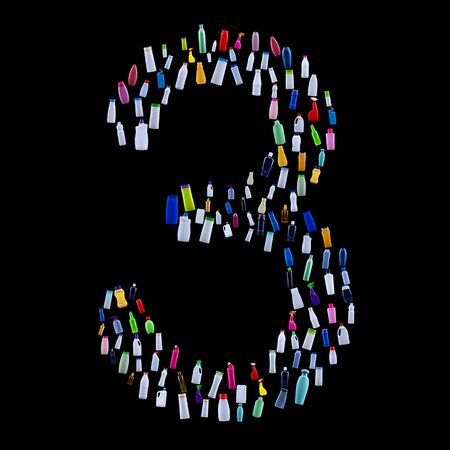 Number three made of plastic waste bottles - pollution and ecology themed alphabet 免版税图像 - 133813917
