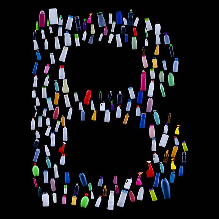 Letter B made of plastic waste bottles - pollution and ecology themed alphabet 免版税图像 - 133813916