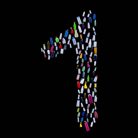 Number one made of plastic waste bottles - pollution and ecology themed alphabet