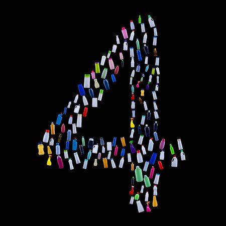 Number four made of plastic waste bottles - pollution and ecology themed alphabet