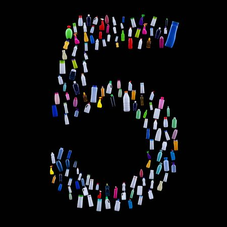 Number five made of plastic waste bottles - pollution and ecology themed alphabet