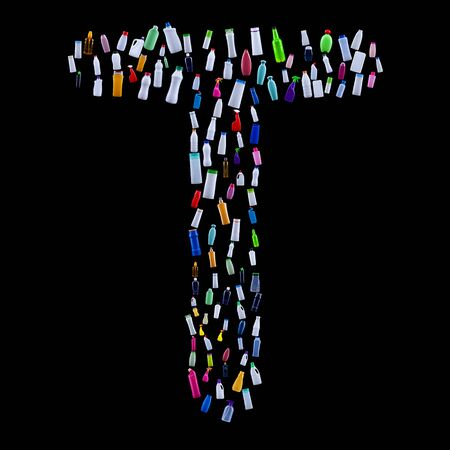 Letter T made of plastic waste bottles - pollution and ecology themed alphabet