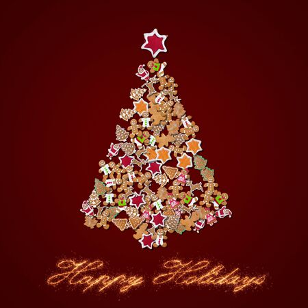 Christmas tree made of gingerbread cookies on red background - sweet and happy holidays 免版税图像 - 135857770