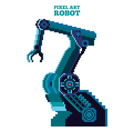manipulator: vector pixel art blue robot manipulator