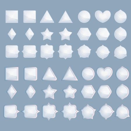 blank button: Set light blue infographic elements isolated on blue background. vector assets for gui design. Set buttons for web or game design. Vector illustration. Illustration