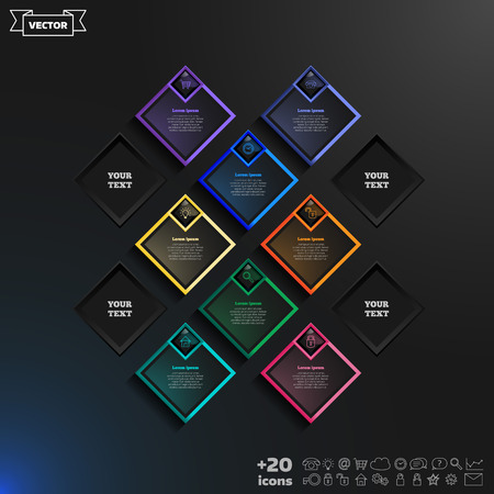 12 step: Vector infographics design with colorful rhombs on the black background. Business concept with 12 options, parts, steps. Can be used for graph, diagram, chart, workflow layout, number options, web.