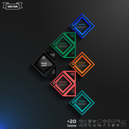 rhomb: Vector infographics design with colorful rhombs on the black background. Business concept with 5 options, parts, steps. Can be used for graph, diagram, chart, workflow layout, number options, web.