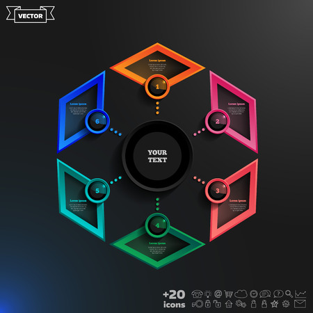 rhomb: Vector infographics design with colorful rhombs on the black background. Business concept with 6 options, parts, steps. Can be used for graph, diagram, chart, workflow layout, number options, web.