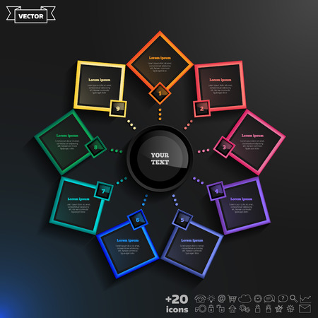 rhomb: Vector infographics design with colorful rhombs on the black background. Business concept with 9 options, parts, steps. Can be used for graph, diagram, chart, workflow layout, number options, web.