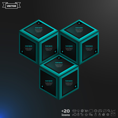rhomb: Vector isometric infographic with blue cubes on the black background. Business concept with 9 options, parts, steps. Can be used for graph, diagram, chart, workflow layout, number options, web. Illustration