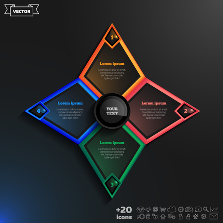 rhomb: Vector infographics design with colorful rhombs on the black background. Business concept with 4 options, parts, steps. Can be used for graph, diagram, chart, workflow layout, number options, web. Illustration