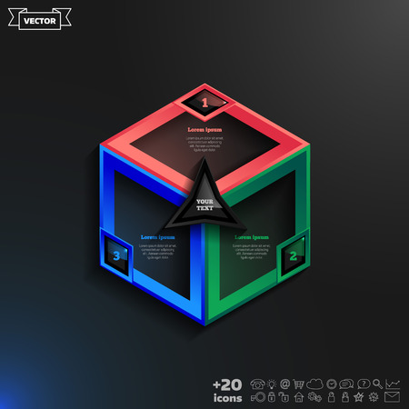 rhomb: Vector infographics design with colorful rhombs on the black background. Business concept with 3 options, parts, steps. Can be used for graph, diagram, chart, workflow layout, number options, web.