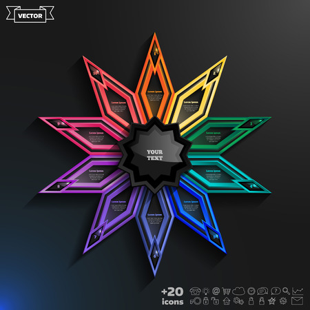 rhomb: Vector infographics design with colorful rhombs on the black background. Business concept with 10 options, parts, steps. Can be used for graph, diagram, chart, workflow layout, number options, web. Illustration
