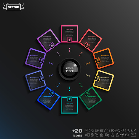 Vector infographic design with colorful square on the black background. Business concept. 10 options, parts, steps. Can be used for graph, diagram, chart, workflow layout, number options, web
