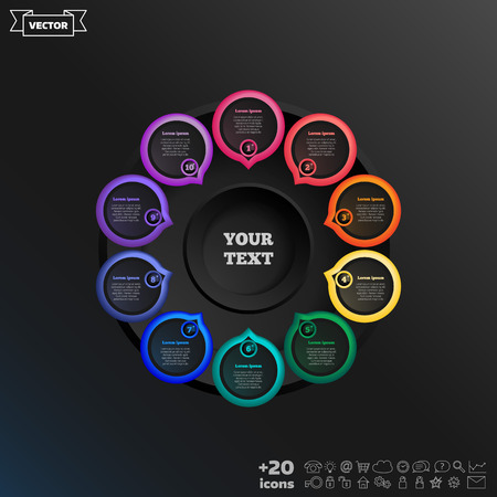 Vector infographic design with colorful circle on the black background. Business concept. 10 options, parts, steps. Can be used for graph, diagram, chart, workflow layout, number options, web