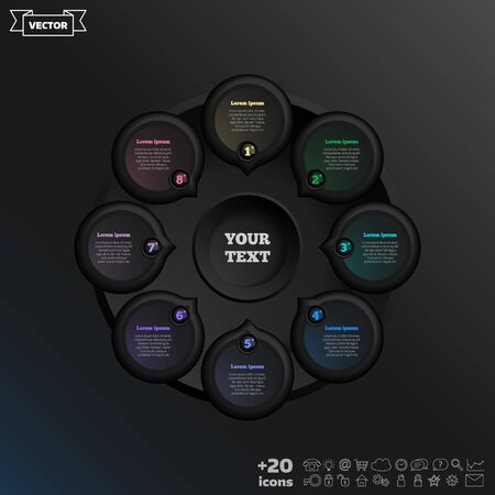 Vector infographic design with colorful circle on the black background. Business concept. 8 options, parts, steps. Can be used for graph, diagram, chart, workflow layout, number options, web