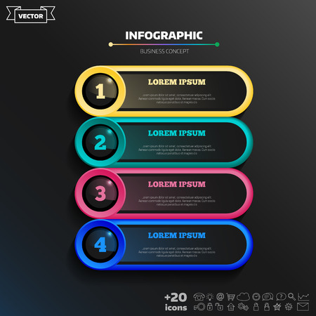 Diseño de infografía vectorial con círculos de colores sobre fondo negro. Concepto de negocio. 4 opciones, partes, pasos. Se puede utilizar para gráficos, diagramas, gráficos, diseño de flujo de trabajo, opciones numéricas, web.
