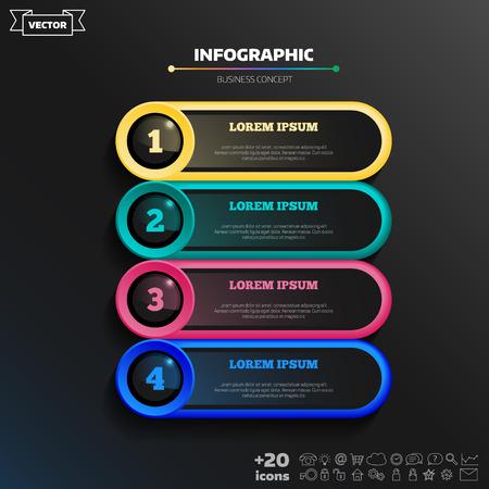 Vektor-Infografik-Design mit bunten Kreisen auf dem schwarzen Hintergrund. Unternehmenskonzept. 4 Optionen, Teile, Schritte. Kann für Grafiken, Diagramme, Diagramme, Workflow-Layouts, Zahlenoptionen, Web verwendet werden