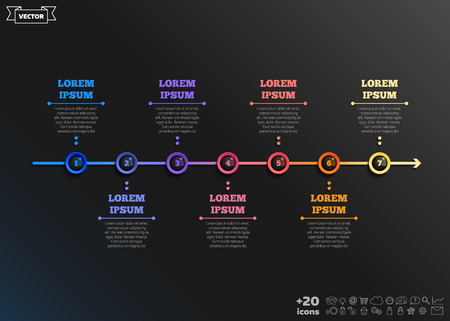 Timeline infographics design with colorful circles on the black background. Business concept. 7 options, parts, steps. Can be used for graph, diagram, chart, workflow layout, number options, web. Vector illustration.
