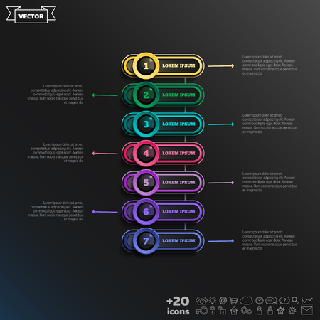 Timeline infographics design with colorful circles. Business concept. 7 options, parts, steps. Can be used for graph, diagram, chart, workflow layout, number options, web. Vector illustration.