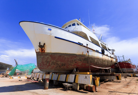 overhaul: Ship in dry dock during the overhaul.