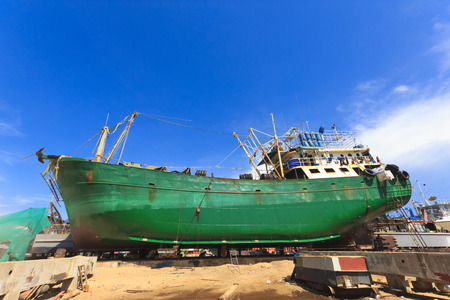 Ship in dry dock during the overhaul. photo