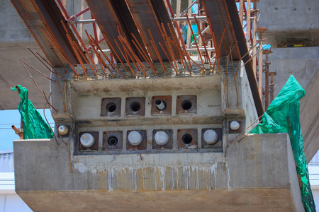 Structural concrete columns pots projects BTS extension Bearing - Samut Prakan, Thailand photo