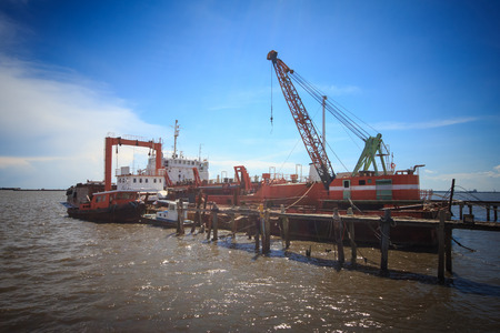 Heavy industrial zone - Shipyard in Samuthprakran, Thailand. Heavy equipment for use in repairing the sea. photo