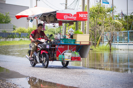 Samut Prakan, Thailand September, 27, 2014 : There was flooding on the street  in Bang Pu Industrial Estate after a very heavy rain.