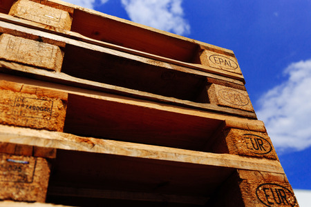 euro pallet: Euro pallet stack. Focus on EPAL signs.